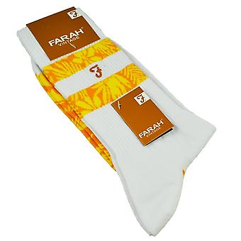 Farah White, Yellow & Orange Patterned Men's Socks