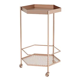 "18.3"" x 16.5"" x 29.9"" Gold Steel Bar Cart"