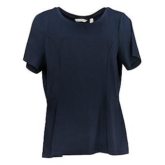 Isaac Mizrahi Live! Women's Top Short-Slv Seamed Peplum Knit Blue A354253
