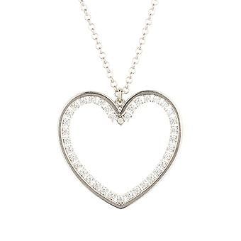 Large Silver White Love Heart CZ Statement Jewellery Gift Drop Necklace Pendant