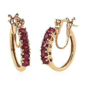 TJC 1.5 Ct. Boucles d'oreilles natural africaines Ruby Silver Fashion Hoop pour femmes et filles