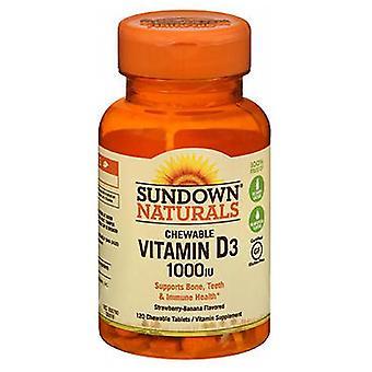 Sundown Naturals Chewable Vitamin D3, 1000 IU, Strawberry-Banana Flavor 120 Tabs