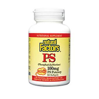 """גורמים טבעיים Phosphatidylסרין, 100 מ""""ג, 60 כמוסות רכות"""
