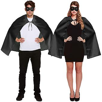 Henbrandt Halloween Fancy Dress Costume - Adulto Unisex - Black Cape & Eye Mask Set