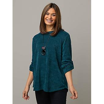 Kym 3/4 Sleeve Chenille Knit in Teal