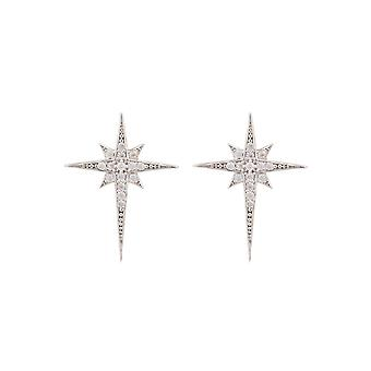 Small Silver White Sparkly North Star CZ Bridal Dainty Jewellery Stud Earrings