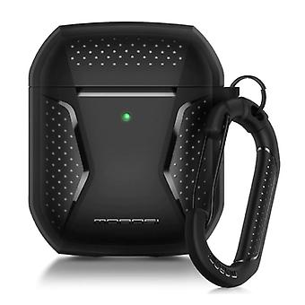 MOBOSI Shockproof Case for AirPods 1/2 with Carabiner - AirPod Case Cover Skin - Black