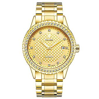 TEVISE Diamonds Business Style Automatic Mechanical Watch Stainless Steel Strap