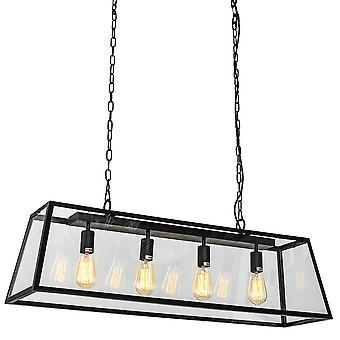 Italux Laverno - Pendentif suspendu industriel et rétro Black Matt 4 Light , E27