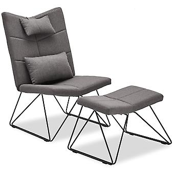Furnhouse Como Lounge Chair with Footrest, Blue Fabric, Metal Base, 65x85x100 cm