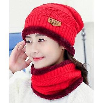 الرعاية الاجتماعية الخريف شتاء الصوف قبعة الرجال النساء بالإضافة إلى المخملية الدافئة الوشاح محبوك