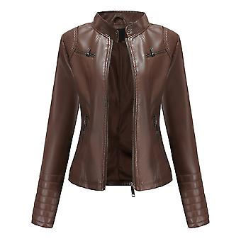 Ladies Slim Stand Collar Solid Color Casual Zip Leather Jacket
