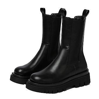 Autumn/winter Round Toe Platform Thick Heel Mid-calf Boots