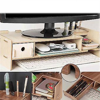 Dřevěný počítačový monitor stojan držák laptop stůl a organizér rack skladování