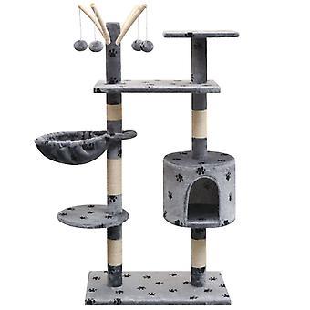 قطة شجرة الصفر 125 سم رمادي مع طباعة مخلب