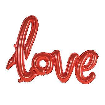 Ballong med texten LOVE i skrivstil