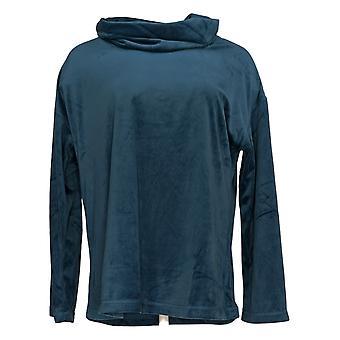 Carole Hochman Women's Silky Velour Cowl Neck Blue A381879 Pajama Top