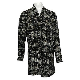 Susan Graver Women's Sweater Petite Printed Open-Front Cardigan Black A384317