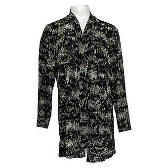 Susan Graver Women's Sweater Petite Printed Open-Front Cardigan Noir A384317