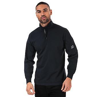 Men's C.P. Company Quarter Zip Sweatshirt in Blue
