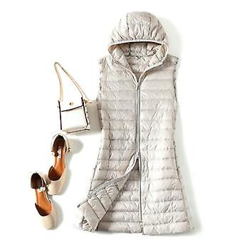 Winter Plus Size Womens Down Jackets, Ultra Light Long Hooded Vest, Casual