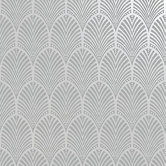 Peacock Geo Silver Wallpaper