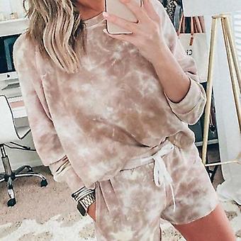 Naisten solmioväri setti Sleepwear Loose Sportswear