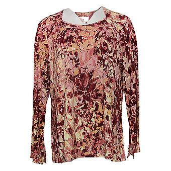 Belle By Kim Gravel Women's Top Watercolor Floral Knit Long Slv Red A347142