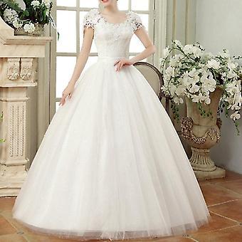 Vintage Spitze Brautkleider, Mütze Ärmel lange Zug Ballkleider für Hochzeit