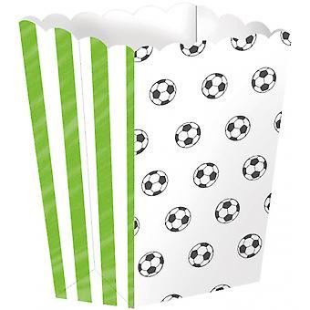 Popcornbakjes Voetbal 13,5 Cm Karton Groen 4 Stuks