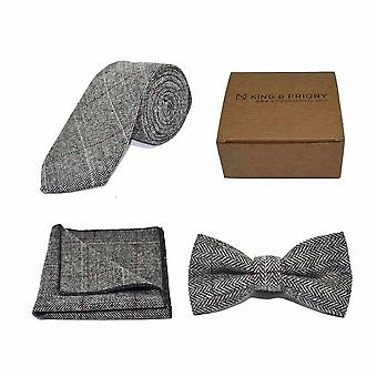 Lyxig sillben Pewter Grey Bow Tie, Slips & Pocket Square Set | Boxed