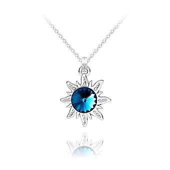 Aurinko hopea sininen riipus kaulakoru swarovski kristalli