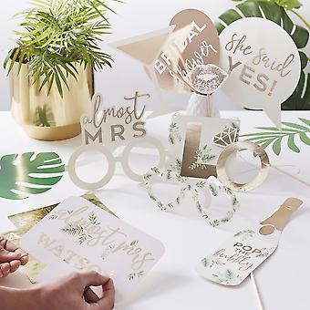 Gold Hen Party Photo Booth Props - Botanical Bridal Shower x 10