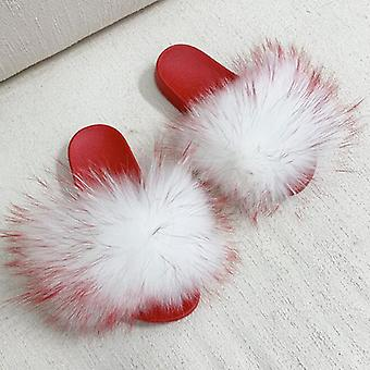 Red Pvc Sole Real Raccoon Fur / Fox Fur Slides Slippers For Women Toddler Girls Feather Slip On Summer Furry Sandals Flip Flops Shoes Flats Pure Color