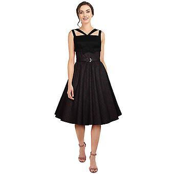Chic Star Plus Size Retro Bow Dress In Burgundy/Plaid