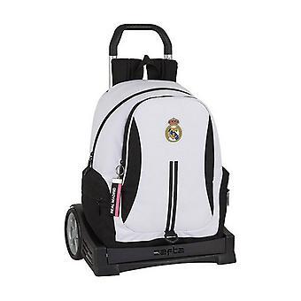 School Rucksack with Wheels Evolution Real Madrid C.F. 20/21 White Black