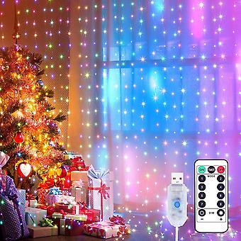 HanFei Lichtervorhang 3x3m LED Lichterkette LED Lichterkettenvorhang mit 8 Modi, IP44 Wasserdicht
