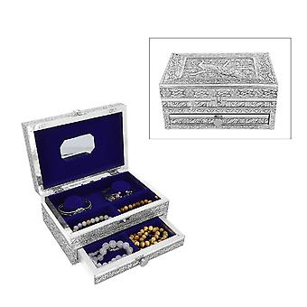 Handcrafted Oxidized Jewelry Box with Drawer chest, Peacock Design