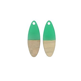Final Sale - Zola Elements Wood & Resin Pendant, Marquise 10x28mm, 2 Pieces, Emerald Green