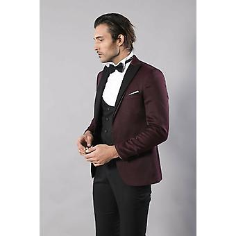 Patterned blazer plain vest and trousers claret red tuxedo
