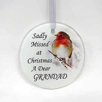 David Fischhoff Robin Glass Memorial Hanging Ornament 9cm - Grandad