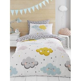 Clouds and Stars Duvet Cover and Pillowcase Set