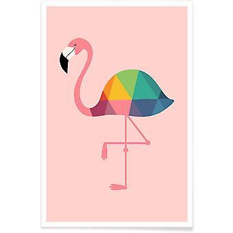 IMPRESSION JUNIQE - Rainbow Flamingo - Flamingos Poster en rose
