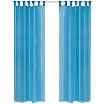 2 x Cortina transparente de cortina pronta 140 x 245 cm turquesa