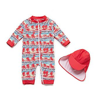 Baby Girls One PieceSwimsuits UPF 50+ Zonbescherming 3/4 Mouwen Full-zip Sunsuit