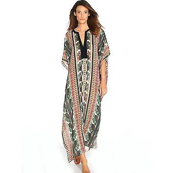 שיפון נשים Kaftan בגדי חוף רופף מודפס שמלה Suncreen ביקיני לכסות