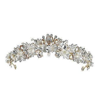 Barroco Vintage Bridal Cabelo Acessórios Antiga Flor de Cristal Tiara para Mulheres Borboleta Casamento