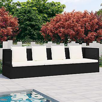 vidaXL Outdoor Lounge Bed met Bekleding & Kussen Poly Rotan Zwart