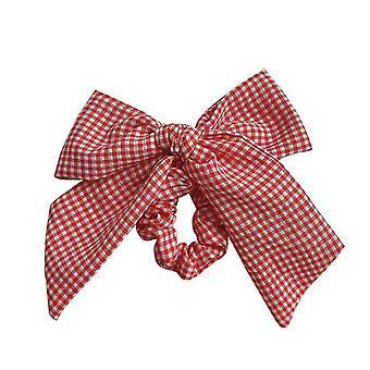 2PCS Children Cute Colors Plaid Bow Elastic Hair Bands Ponytail Holder Girls Lovely Scrunchies