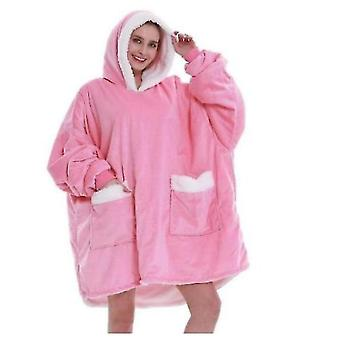 Ladies Warm Hooded Pajamas With Pockets And Casual Home Wear(Pink)